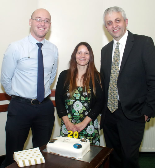 Dick celebrates twenty years as leader of MK with Michael Bunny and Julie Fox