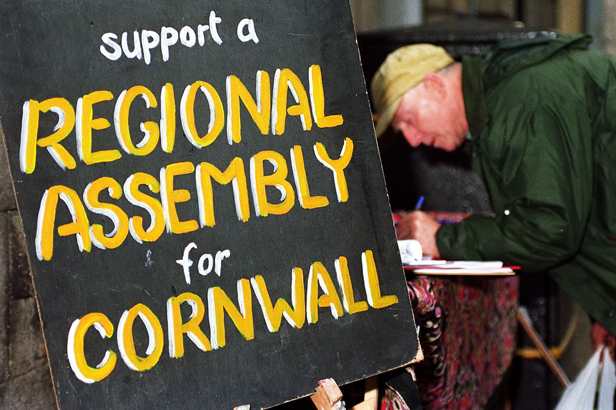 Regional Assembly for Cornwall at a street stall