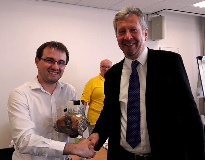 Mael Garrec is pictured offering some Cornish treats to Stewart Arnold the leader of the Yorkshire Party